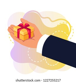 Hand holding gift box. Congratulating concept. Vector flat cartoon graphic design isolated illustration concept