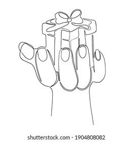 Hand holding a gift box. Line art.