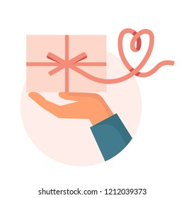 Hand holding gift box with a ribbon in shape of heart. Flat design vector illustration concept isolated on white