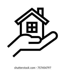 Hand holding or giving house line icon. Buy, rental or lease a real estate property. Vector illustration in flat style.