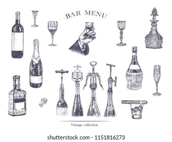 Hand holding a glass of alcohol drink. Hand drawn vector illustration with wine bottle, champagne, glass, tequila, decanter, glass of whisky and cigar, stopper, stopper, corkscrew in wine bottles. Vin