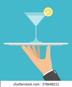 Hand holding glass of cocktail on a silver platter concept. Flat style