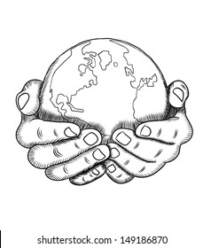 Hand holding a globe