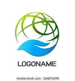 Hand holding a globe abstract vector logo design template