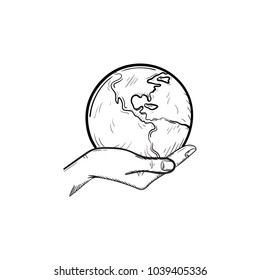 Hand holding the globe hand drawn outline doodle icon. Ecology care and eco friendly concept. Palm with world vector sketch illustration for print, mobile and infographics isolated on white background