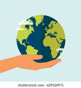 Hand holding globe earth. Save the world concept. Vector illustration.