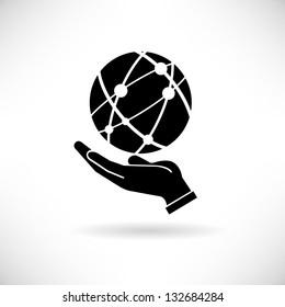 hand holding globe, social network