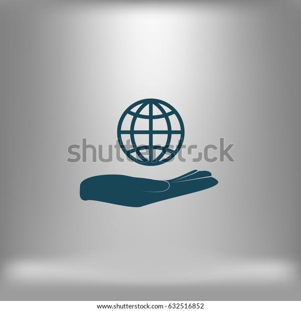 Hand holding globe vector icon
