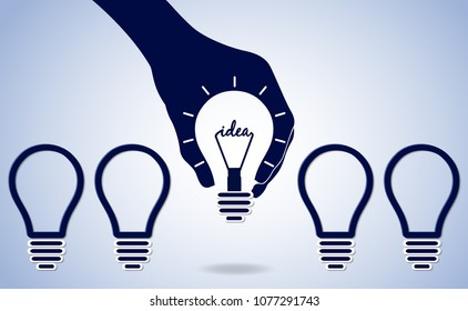 hand holding glowing lamp isolated background blue white. creative ideas concept. Distinction and leadership. the way to solve problem. business finance. Vector illustrations