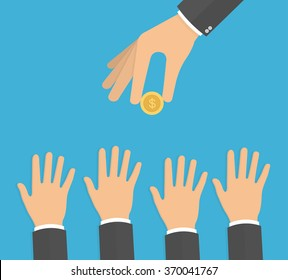 Hand holding golden coin while hands trying to reach it. Need for money concept. Reaching hands with hand holding coin above. Flat design