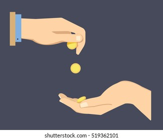 Hand holding golden coin while another trying to reach it. Need for money concept. Flat vector design