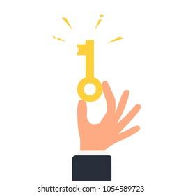 Hand holding golden key. Key takeaways design. Clipart image isolated on white background