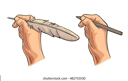 Hand holding a goose feather and pencil. Vector color flat illustration for poster, label, banner, web. Isolated on white background