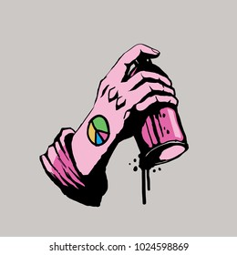 Hand Holding Graffiti Spray With Peace, Graffiti Style Vector Illustration.