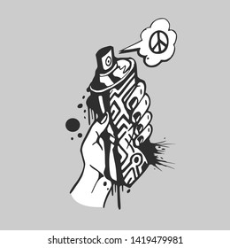 Hand Holding Graffiti Spray With Peace, Black and White Graffiti Style Vector Illustration.