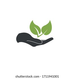Hand holding green leaves. Symbol of ecology. Simple vector illustration.