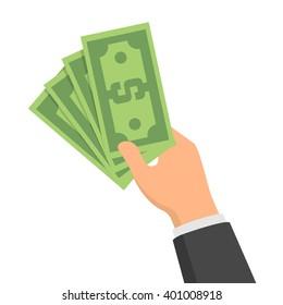 Hand holding green money banknotes. Vector flat design illustration