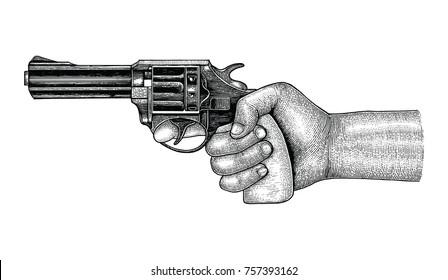 Hand holding gun,Retro drawing engraving illustration