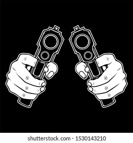 hand holding a gun.vector hand drawing isolated,easy to edit
