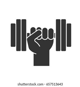 Hand holding gym barbell glyph icon. Fitness and workout silhouette symbol. Negative space. Vector isolated illustration