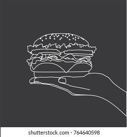 Hand holding a hamburger, vector illustration design. Hands collection.