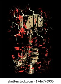 Hand holding a hammer in grunge style with blood splattered.