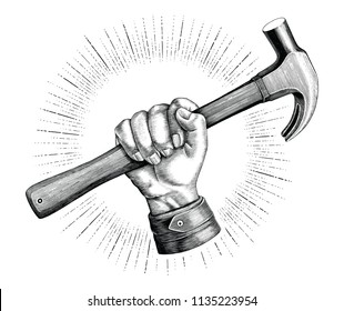 Hand holding hammer illustration vintage clip art for carpenter logo isolated on white background