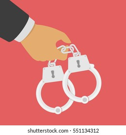 Hand holding a handcuffs. A crime, corruption and arrest concept. Handcuffs in the hands of the policeman. Vector illustration in flat style.