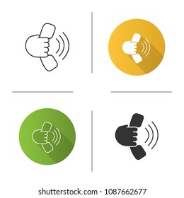 Hand holding handset icon. Answering the call. Hotline. Flat design, linear and glyph styles. Isolated vector illustrations