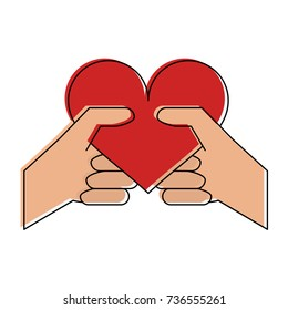 hand holding heart cartoon valentines day related icon image