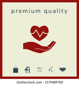 Hand holding heart. Medical icon. Graphic elements for your design