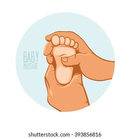 hand holding the heel of the baby, baby massage, vector illustration for your design, for logo