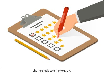Hand holding highlighter over rating blank on clipboard accompanied by pencil. Isometric vector illustration