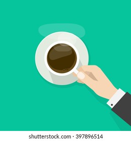Hand holding hot coffee cup with steam on plate, business person want to drink coffee, break morning time banner concept, elegant flat cartoon design vector illustration isolated on green background