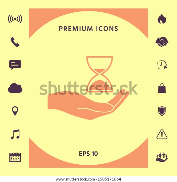Hand holding Hourglass. Graphic elements for your design
