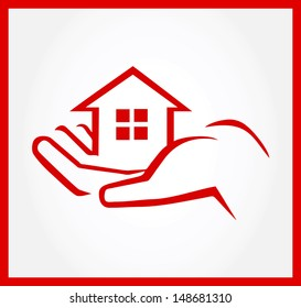 Hand Holding House