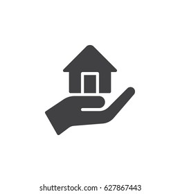 Hand holding up house icon vector, filled flat sign, solid pictogram isolated on white. Mortgage symbol, logo illustration. Pixel perfect