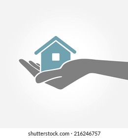 Hand holding house. Vector Illustration.