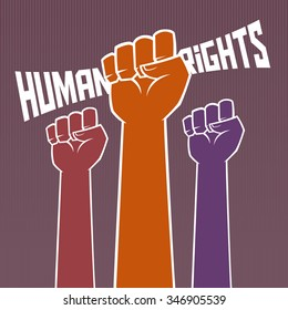 Hand holding for human rights typography, vector illustration