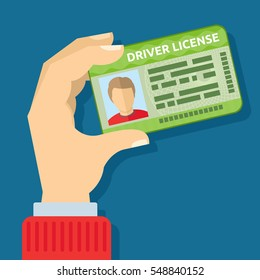 Hand holding id card, car driving licence vector illustration