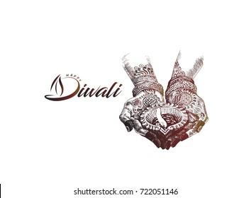 Hand holding Indian oil lamp - diya, Diwali festival, Hand Drawn Sketch Vector illustration.