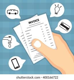 Hand holding invoice.