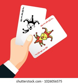 hand holding joker card, poker playing card concept, vector illustration