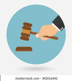 Hand holding judges gavel. Icon in flat style