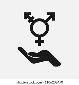 Hand holding lgbt symbol black and white vector icon.