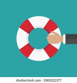 Hand holding a lifebuoy on bue background. Help, support, survival or investment symbol. red and blue lifebelt, swimming rubber ring. save business concept. vector illustration in flat style.