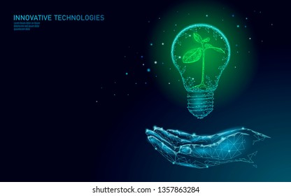 Hand holding light Bulb lamp saving energy ecology concept. Polygonal blue sprout small plant seedling inside electricity green energy power banner vector illustration