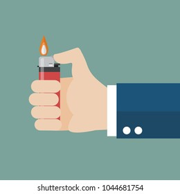 Hand holding lighter. Flat style vector Illustration