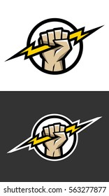 Hand holding a lighting Bolt. Symbol, logo.