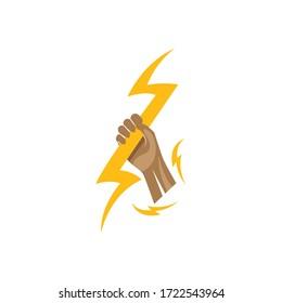 Hand holding Lightning Logo vector illustration design